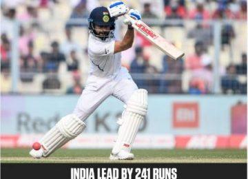 भारत 347/9 पर पहली पारी घोषित