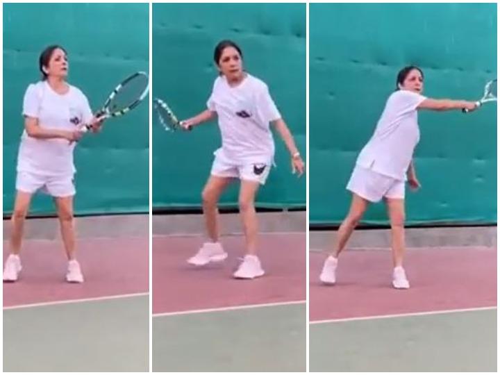 टेनिस कोर्ट में नीना गुप्ता