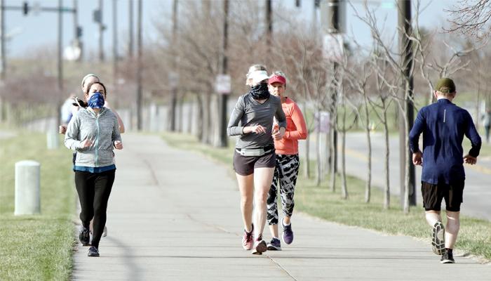 start cycling, jogging, running again