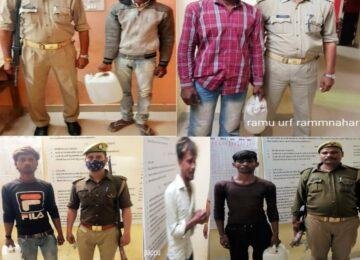 पुलिस ने कच्ची शराब के साथ 5 को किया गिरफ्तार