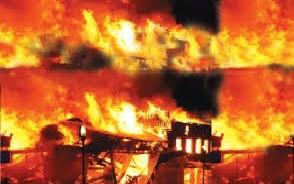 गोदाम में आग लगने से वृद्धा की मौत