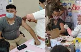पुलिसकर्मियों ने लगवाई कोरोना वैक्सीन की दूसरी डोज