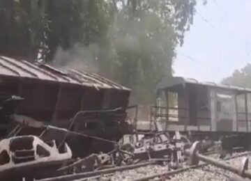Freight train crashed at Bilhaur railway station