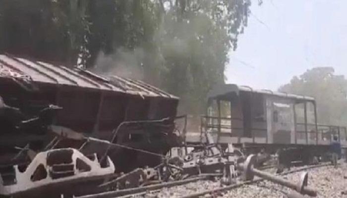 Freight train crashed at Bilhaur railway station